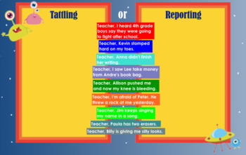 Welcome to the Planet of No Tattling - A Lesson in Tattling v. Reporting