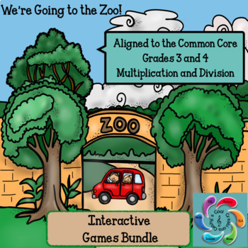 Interactive Math Game Multiplication & Division We're Going to the Zoo! Bundle