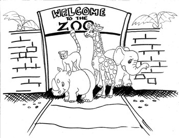 Welcome to the Zoo Colouring Sheet