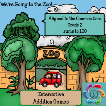 Interactive Addition Games-We're Going to the Zoo! sums to 100