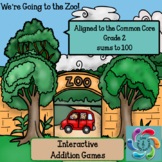 Interactive Math Game (Addition) -We're Going to the Zoo! sums to 100