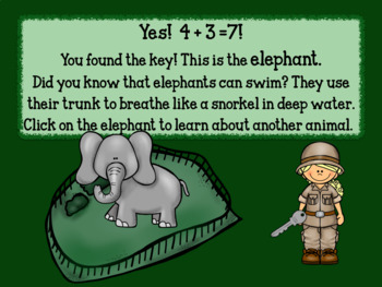 Interactive Addition Games-We're Going to the Zoo! - sums to 15
