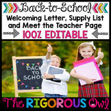 Welcoming Letter, Meet the Teacher Page, and Supply List EDITABLE
