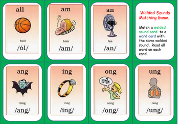 Welded Sounds (glued sounds) to Word Examples MATCHING card game