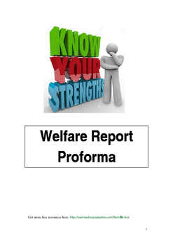 Welfare Report Proforma