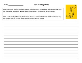 """Well Developed Paragraph Prompt """"Love That Dog"""" by Sharon Creech"""