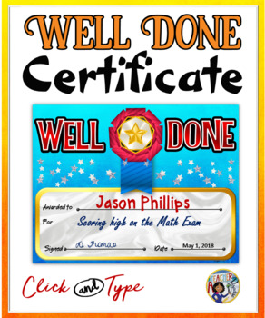 Well Done Certificate {Fillable}
