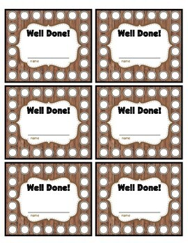 Well Done Punch Card Naturals