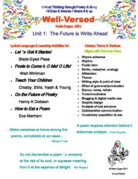 Well-Versed Unit 1- Poetry & Critical Thinking - The Future is Write Ahead
