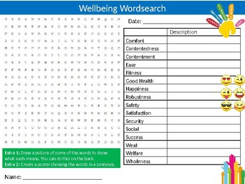 Wellbeing Wordsearch Sheet Starter Activity Keywords Mental Health