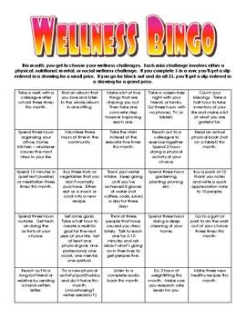 Wellness Bingo Staff Challenge