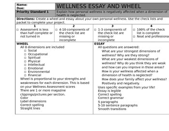 Wellness Wheel Asessment By Facs And Avid  Teachers Pay Teachers Wellness Wheel Asessment