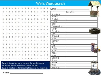 Wells Wordsearch Puzzle Sheet Keywords Homework Geography