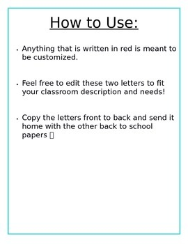 Welome Letter to Students and Parents