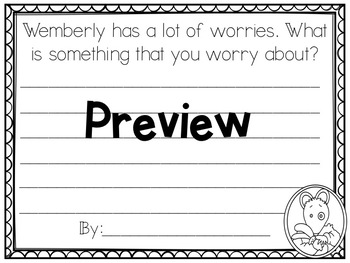Wemberly Worried Graphing and Writing Craftivity