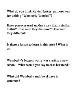 Wemberly Worried Reading Strategy Review