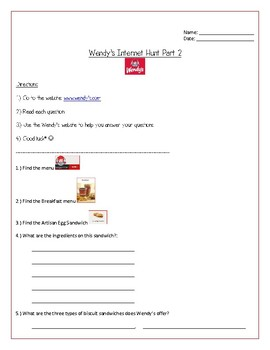 Wendy's Internet Hunt- PART TWO-For Special Education and Autism