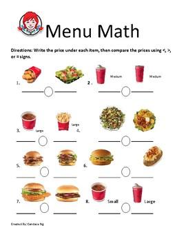 menu math worksheet  kidz activities wendys menu math by lifeskills connections with mrs ng tpt
