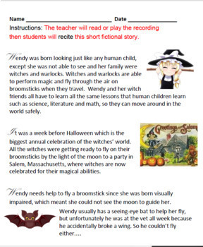 Wendy the Blind Witch - Halloween - LD  Learning Disabled - Reading - Math K-2
