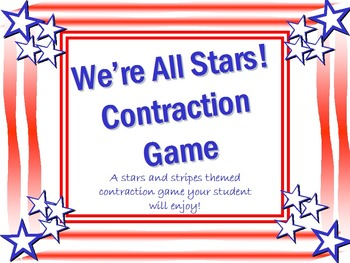 Flag Day Themed Contractions Game - We're All Stars!
