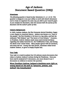 Were Andrew Jackson's actions right or wrong?  Document Based Question (DBQ)