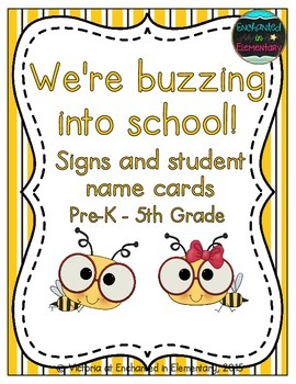 We're Buzzing into School! Grade Level Signs and Student Name Cards