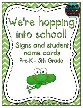We're Hopping into School! Grade Level Signs and Student Name Cards