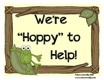 We're Hoppy to Help!  Frog Themed Job Assignment Mini Bulletin Board Set