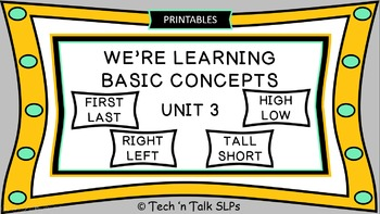 We're Learning Basic Concepts:  Unit 3  Printable