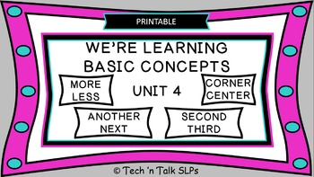 We're Learning Basic Concepts:  Unit 4  Printable