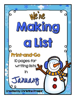 We're Making a List Writing Activity - {10 Print-and-Go Lists for January}