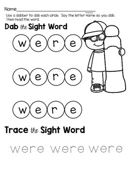 Were: Sight Word Activities