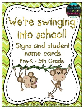 We're Swinging into School! Grade Level Signs and Student Name Cards