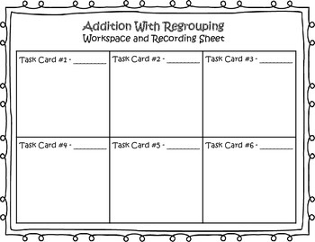 We're Tuned into Addition With Regrouping! Task Cards