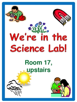 We're in the Science Lab sign