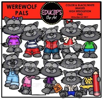 Werewolf Pals Clip Art Bundle {Educlips Clipart}