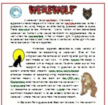 Werewolf Reading Comprehension On Halloween