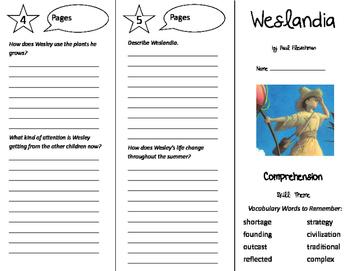 Weslandia Trifold - California Treasures 5th Grade Unit 6 Week 4