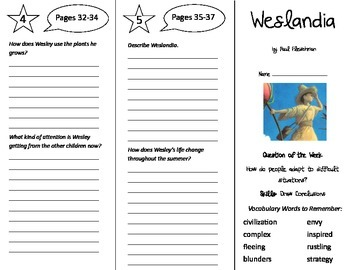 Weslandia Trifold - Reading Street 5th Grade Unit 4 Week 1