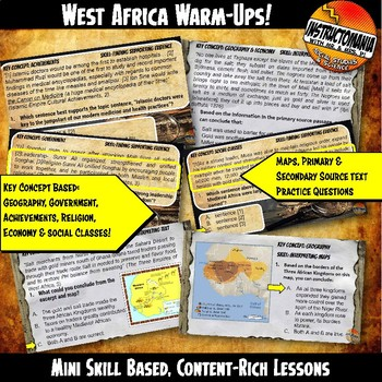 West Africa Empires Investigation Warm-Ups Skill Based, Content Mini Lessons