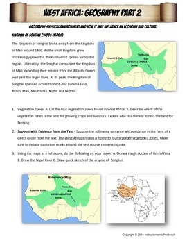 West Africa Empires Stations with Key Questions Graphic Organizer