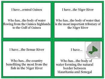 West Africa's Physical Geography Review Game: I Have Who Has