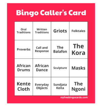 West African Chapter Reading, Bingo and Handout