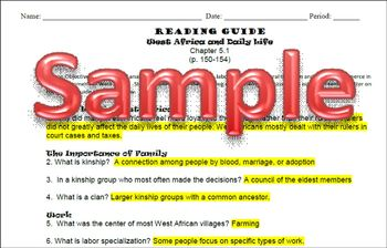 West African Culture Student Reading Guide & Key