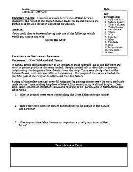 Day 032_West African Kingdoms - Ghana, Mali, Songhai - Lesson Handout