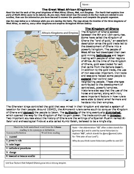 West African Kingdoms reading