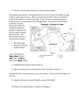 West African Trading Kingdoms Ghana and Mali Reading, Map and Questions