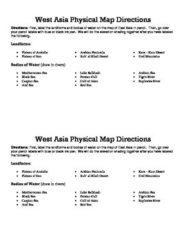 West Asia Landform Map Directions Sheet