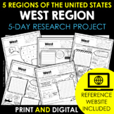 West Region | 5 Regions of the US | Research Project for Google Classroom™