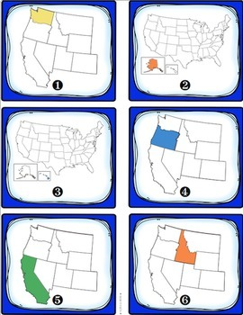 West Region States and Capitals Task Cards